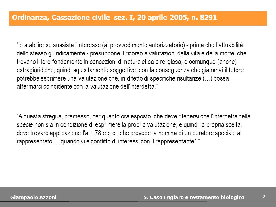Ordinanza, Cassazione civile sez. I, 20 aprile 2005, n. 8291