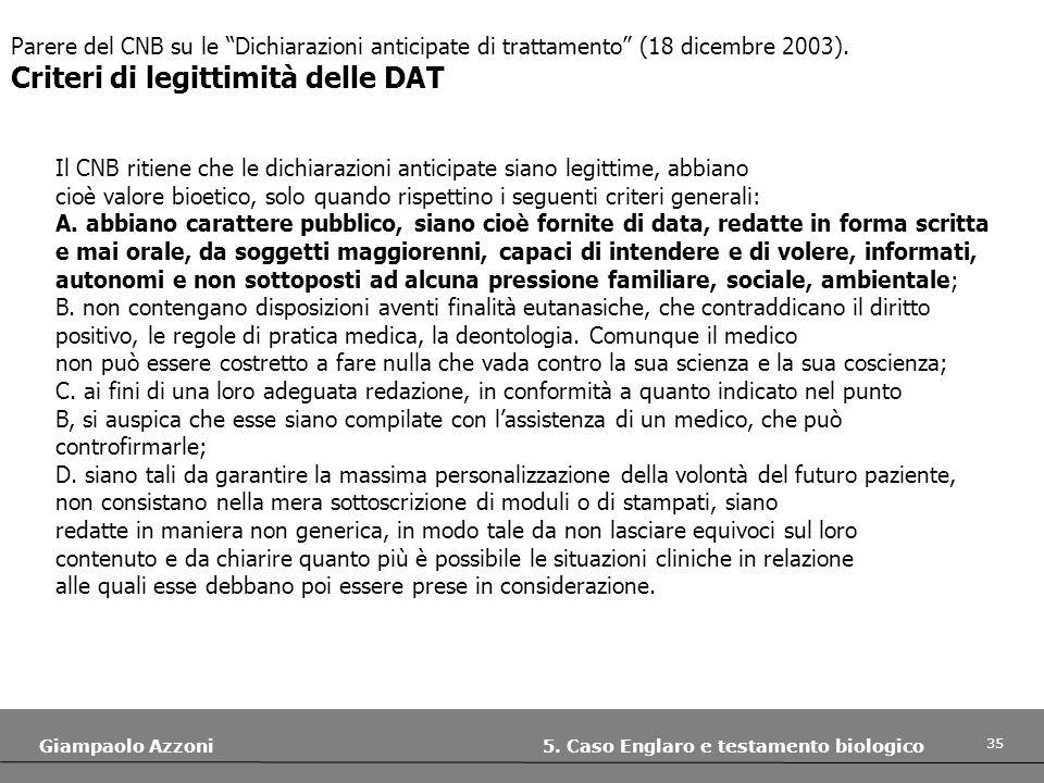 Criteri di legittimità delle DAT