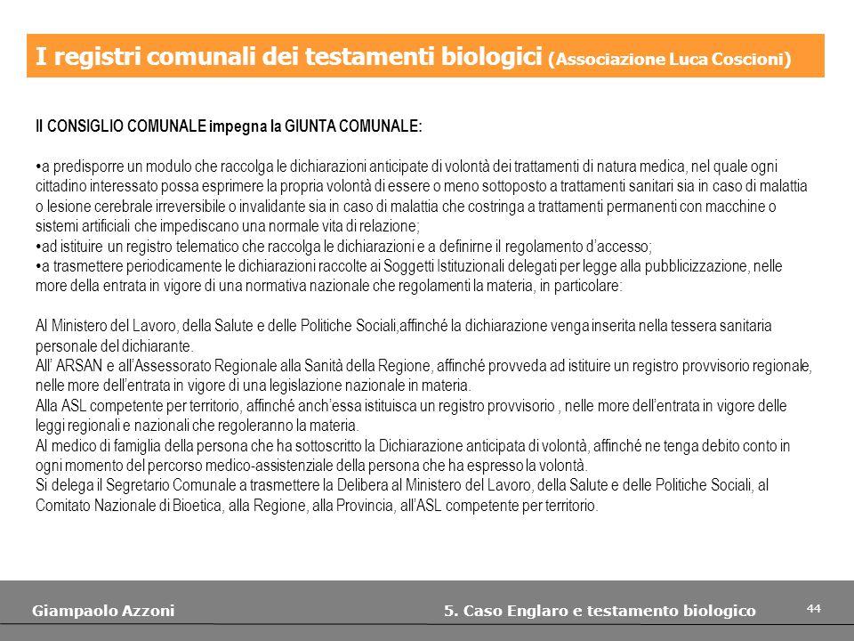 I registri comunali dei testamenti biologici (Associazione Luca Coscioni)