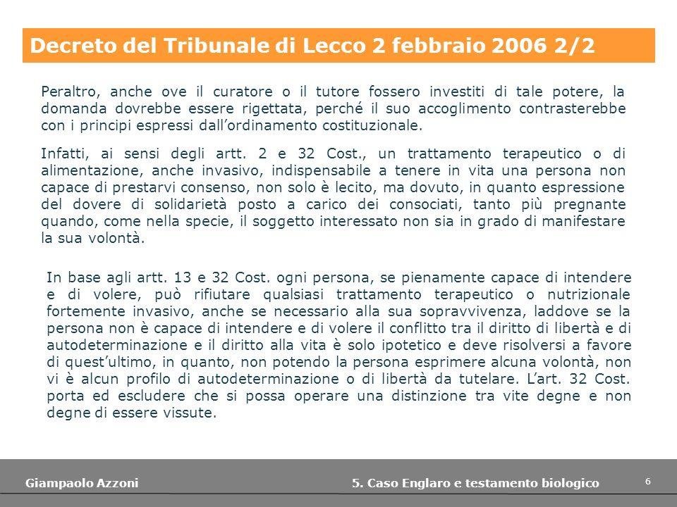 Decreto del Tribunale di Lecco 2 febbraio 2006 2/2