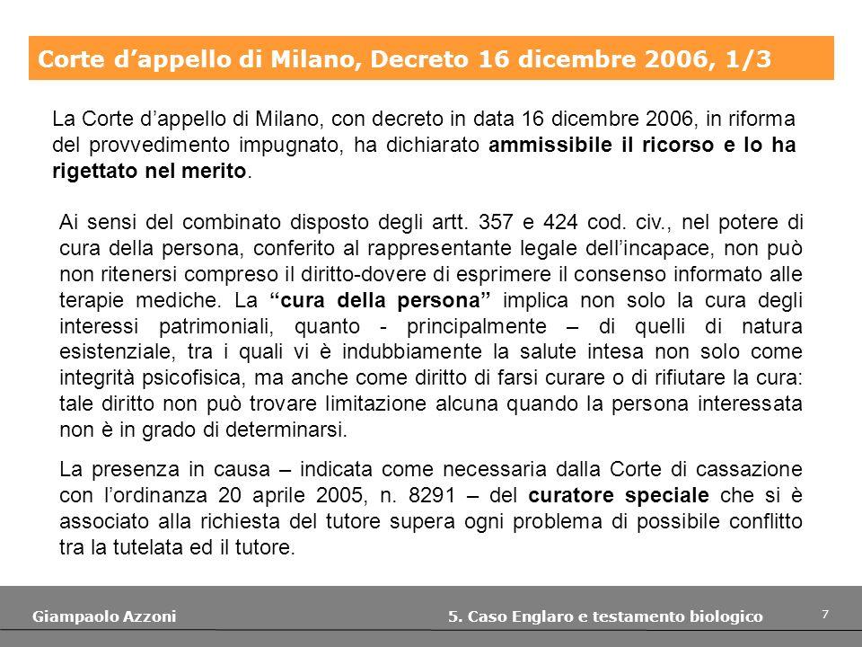 Corte d'appello di Milano, Decreto 16 dicembre 2006, 1/3