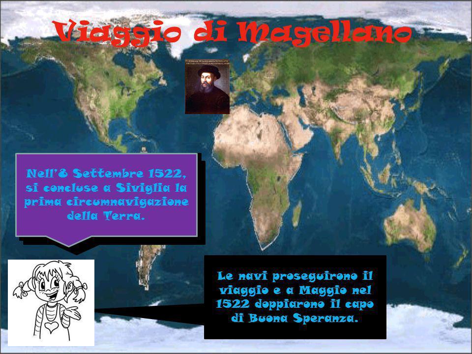 Viaggio di Magellano Nell'8 Settembre 1522, si concluse a Siviglia la prima circumnavigazione della Terra.