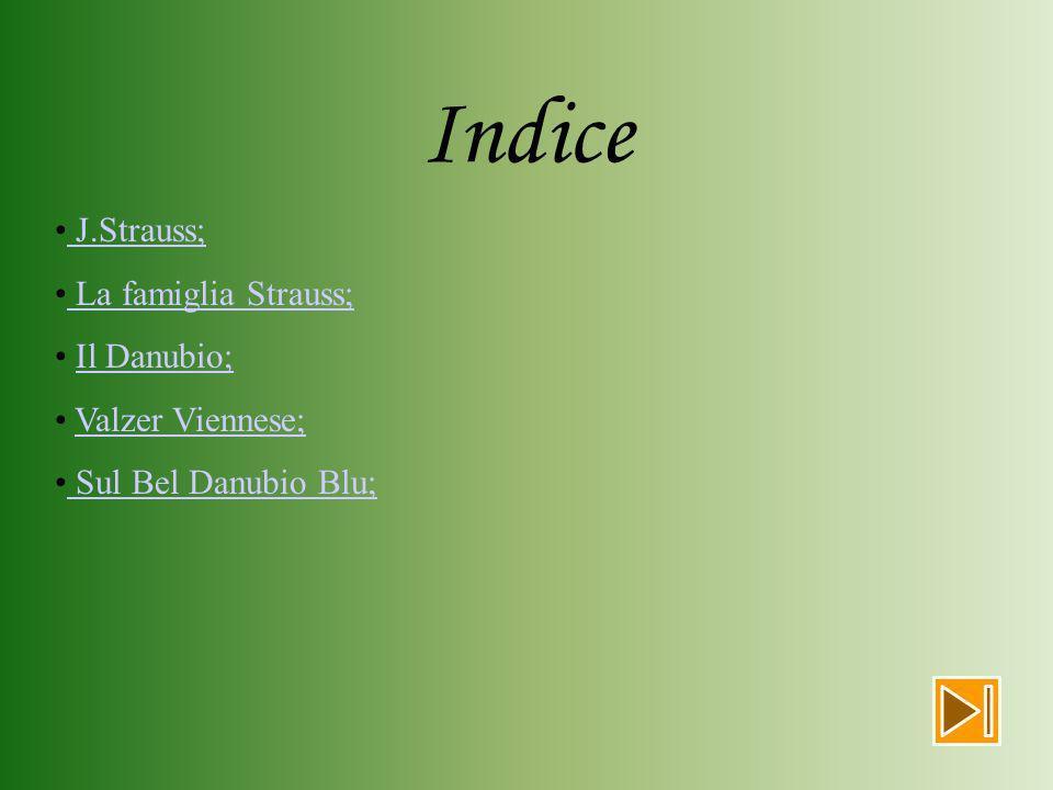 Indice J.Strauss; La famiglia Strauss; Il Danubio; Valzer Viennese;