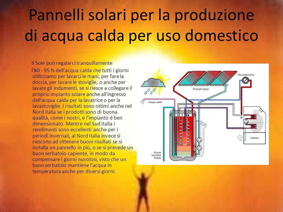Pannelli solari per la produzione di acqua calda per uso domestico