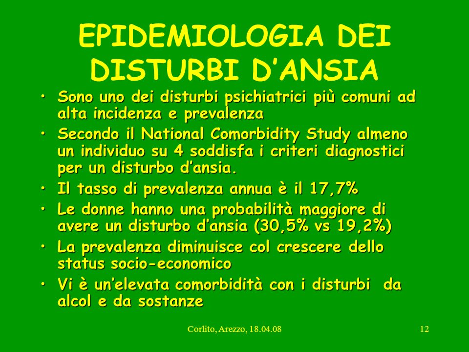 EPIDEMIOLOGIA DEI DISTURBI D'ANSIA