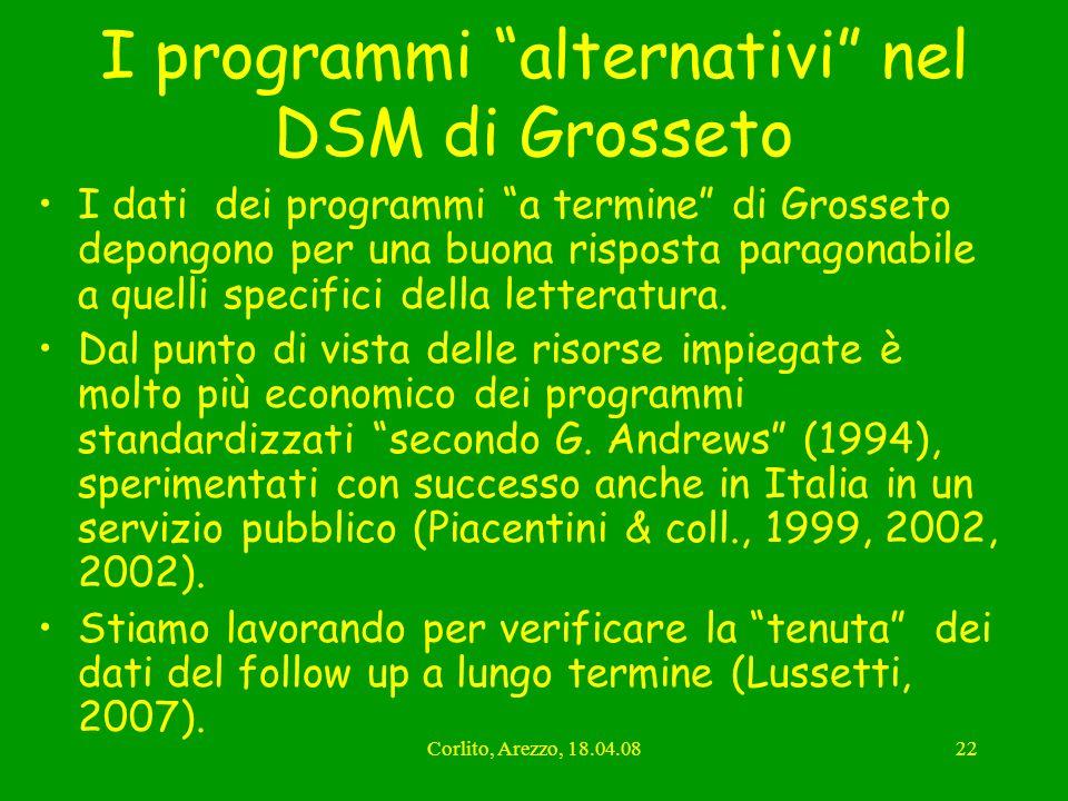 I programmi alternativi nel DSM di Grosseto