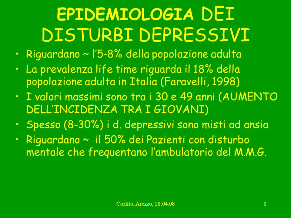 EPIDEMIOLOGIA DEI DISTURBI DEPRESSIVI