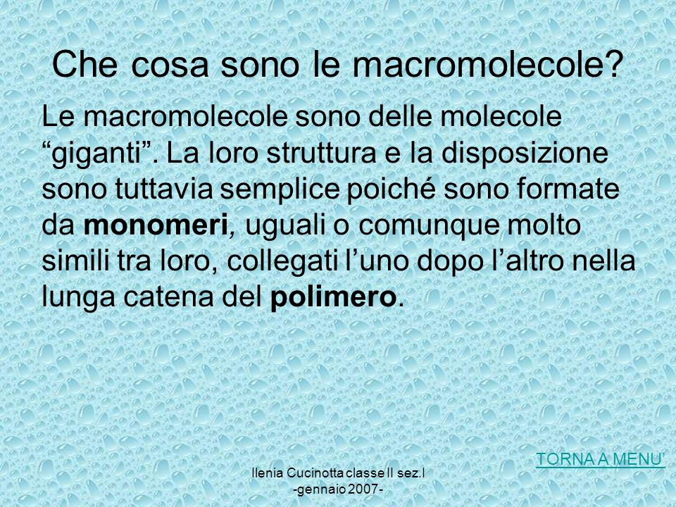Che cosa sono le macromolecole
