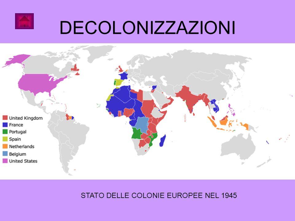 DECOLONIZZAZIONI STATO DELLE COLONIE EUROPEE NEL 1945