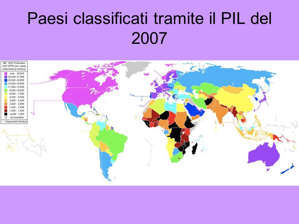 Paesi classificati tramite il PIL del 2007