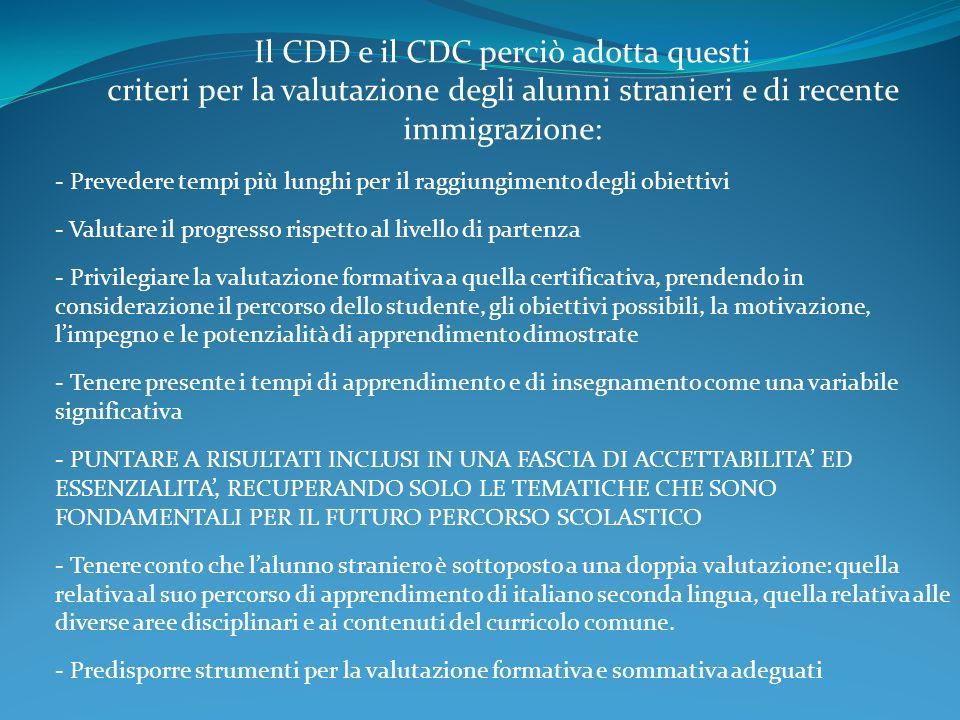 Il CDD e il CDC perciò adotta questi