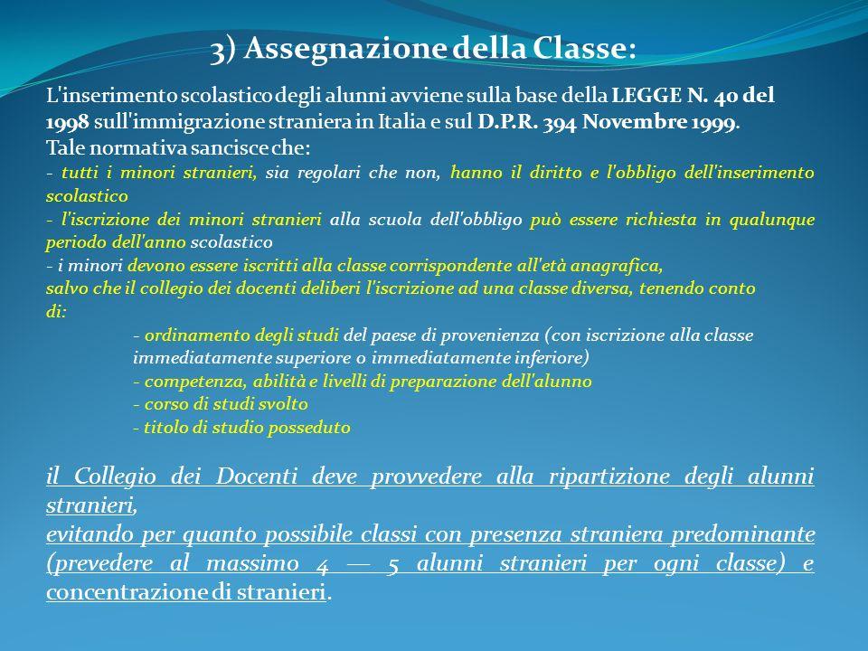 3) Assegnazione della Classe: