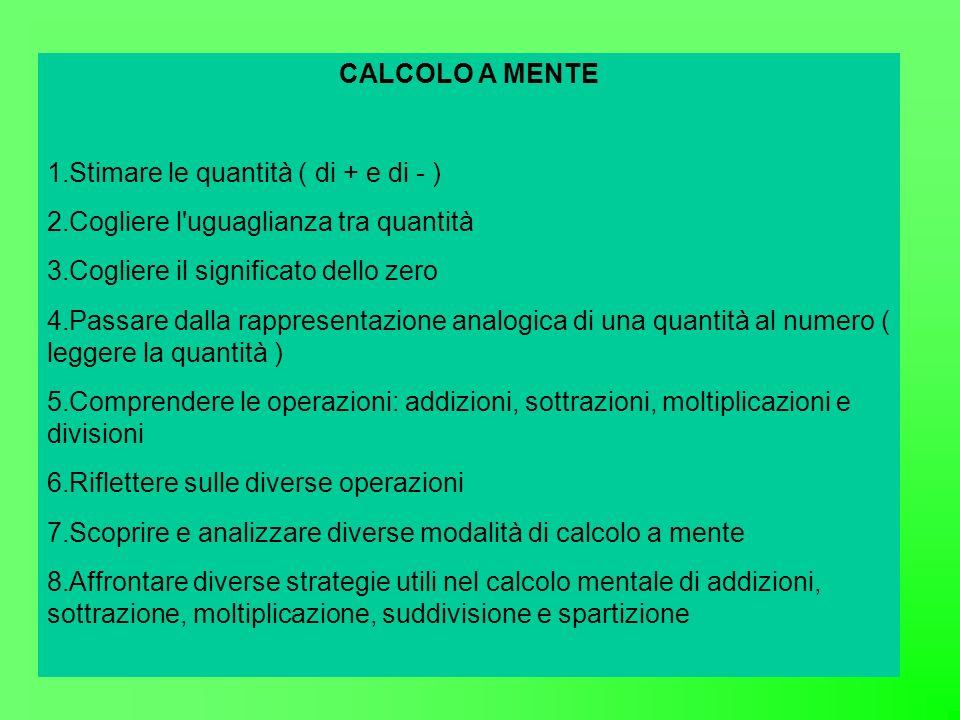 CALCOLO A MENTE Stimare le quantità ( di + e di - ) Cogliere l uguaglianza tra quantità. Cogliere il significato dello zero.