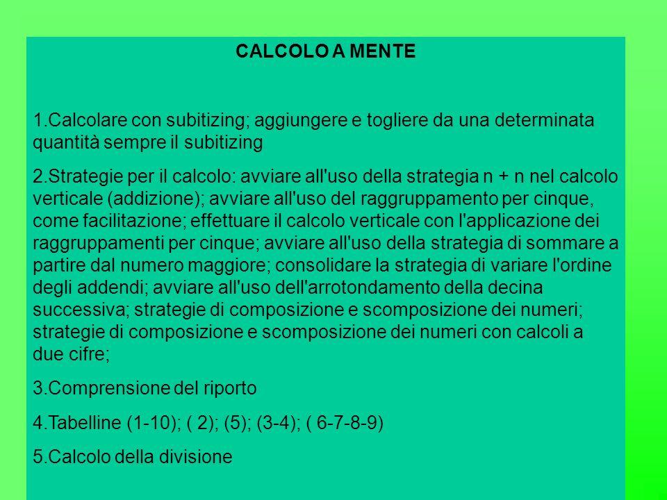 CALCOLO A MENTE Calcolare con subitizing; aggiungere e togliere da una determinata quantità sempre il subitizing.