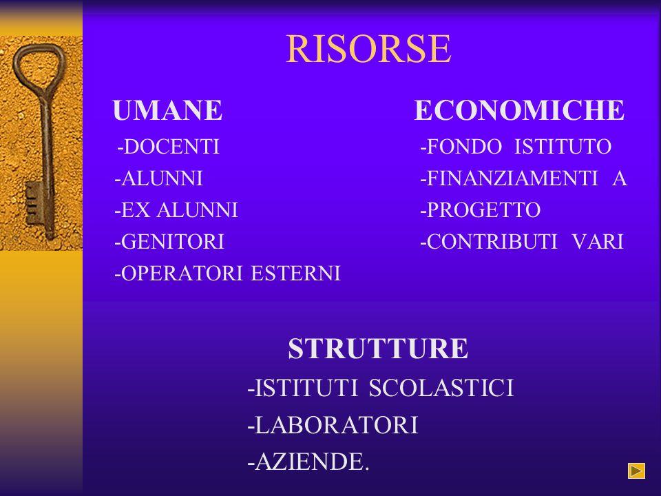 RISORSE UMANE ECONOMICHE STRUTTURE -ISTITUTI SCOLASTICI -LABORATORI