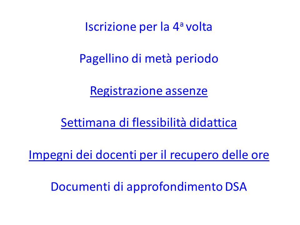 Iscrizione per la 4a volta Pagellino di metà periodo Registrazione assenze Settimana di flessibilità didattica Impegni dei docenti per il recupero delle ore Documenti di approfondimento DSA