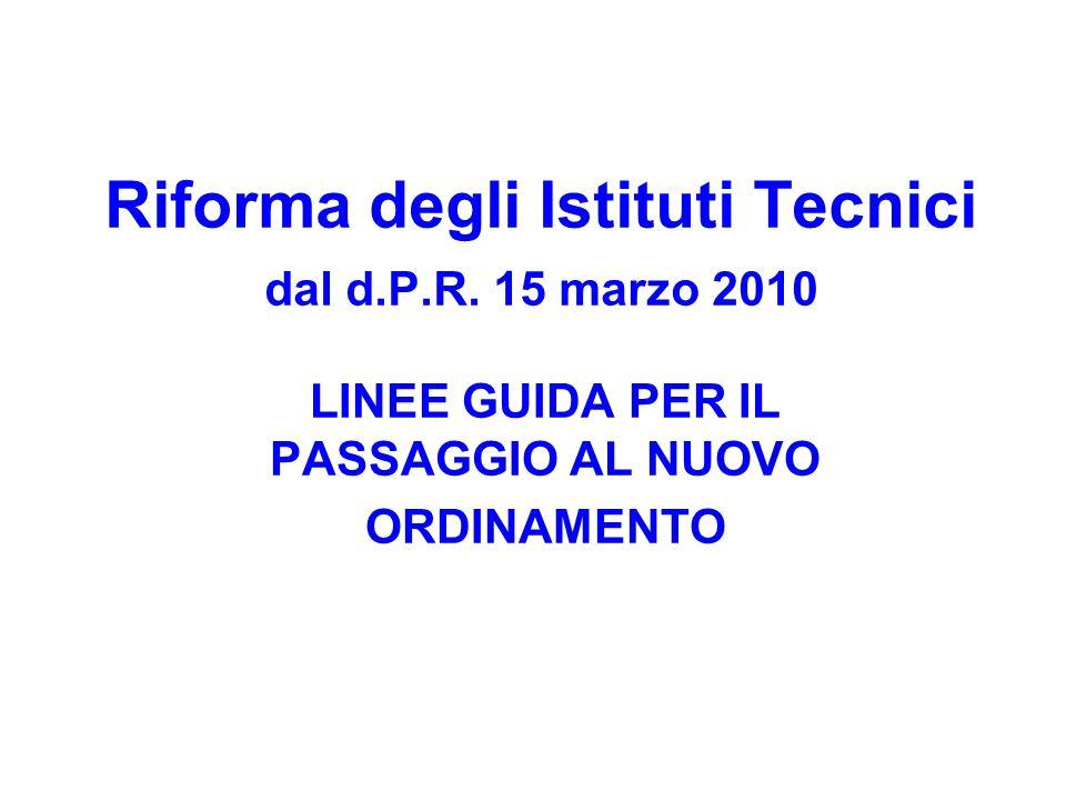 Riforma degli Istituti Tecnici dal d.P.R. 15 marzo 2010