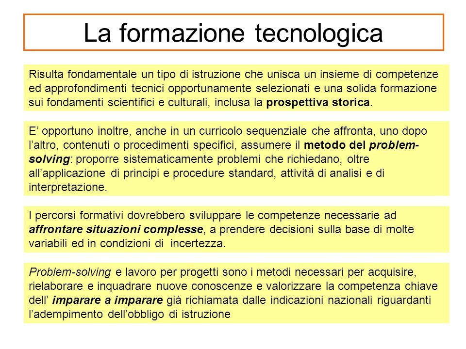 La formazione tecnologica