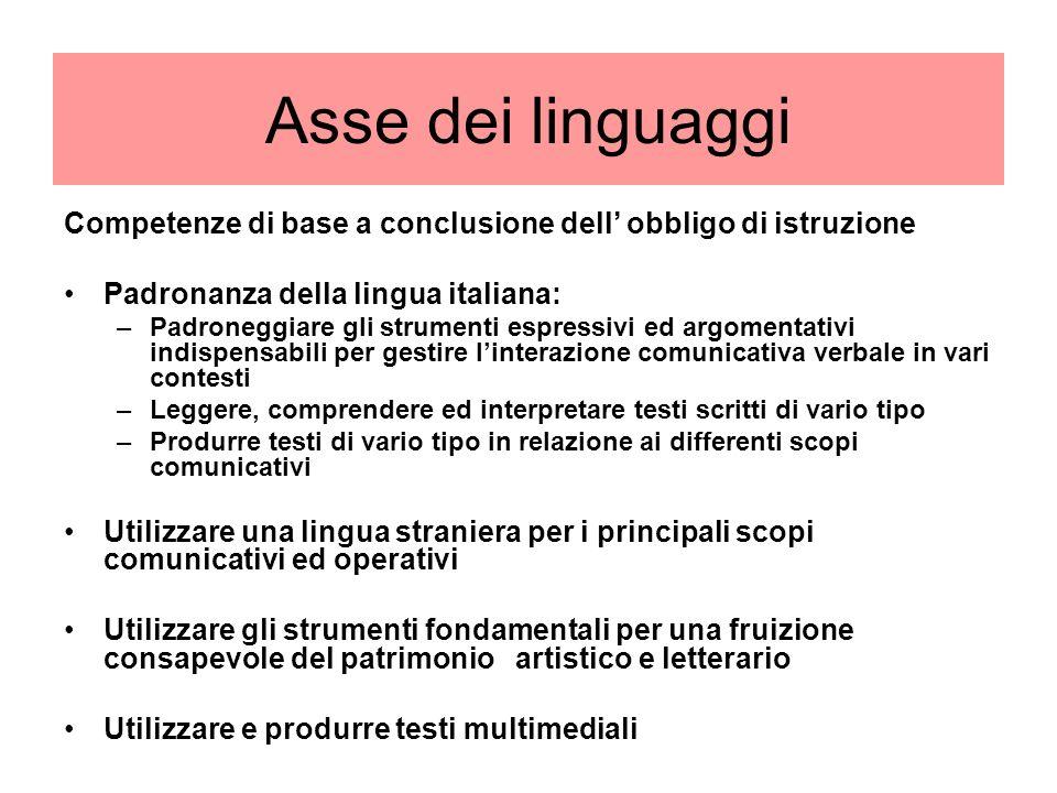 Asse dei linguaggi Competenze di base a conclusione dell' obbligo di istruzione. Padronanza della lingua italiana: