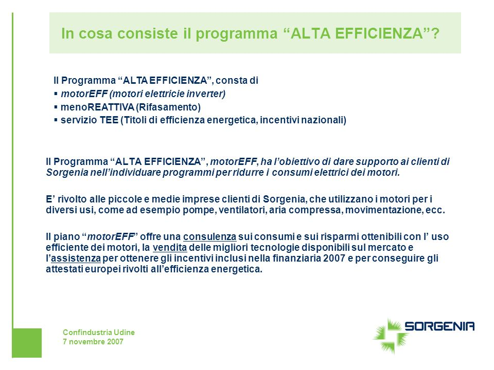 In cosa consiste il programma ALTA EFFICIENZA