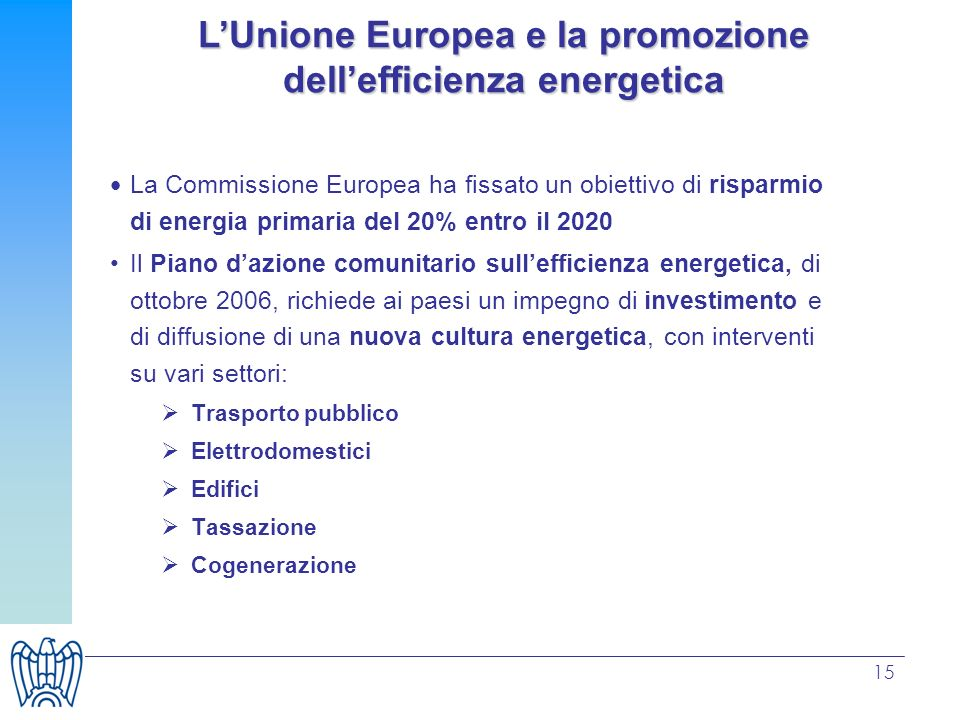 L'Unione Europea e la promozione dell'efficienza energetica