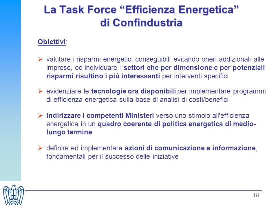La Task Force Efficienza Energetica di Confindustria