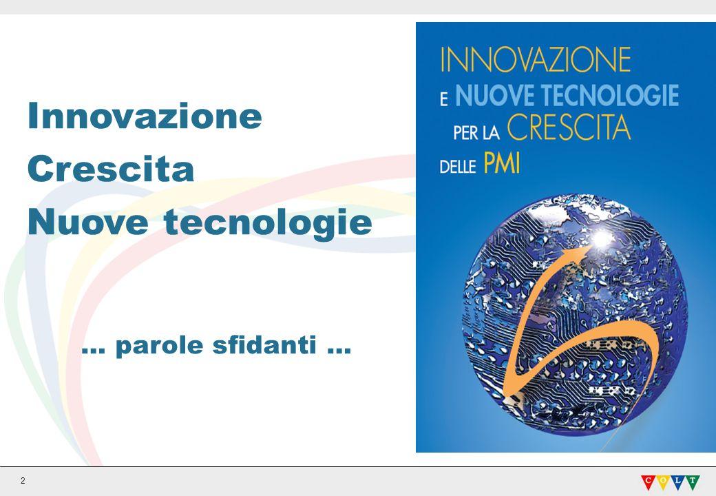 Innovazione Crescita Nuove tecnologie … parole sfidanti …