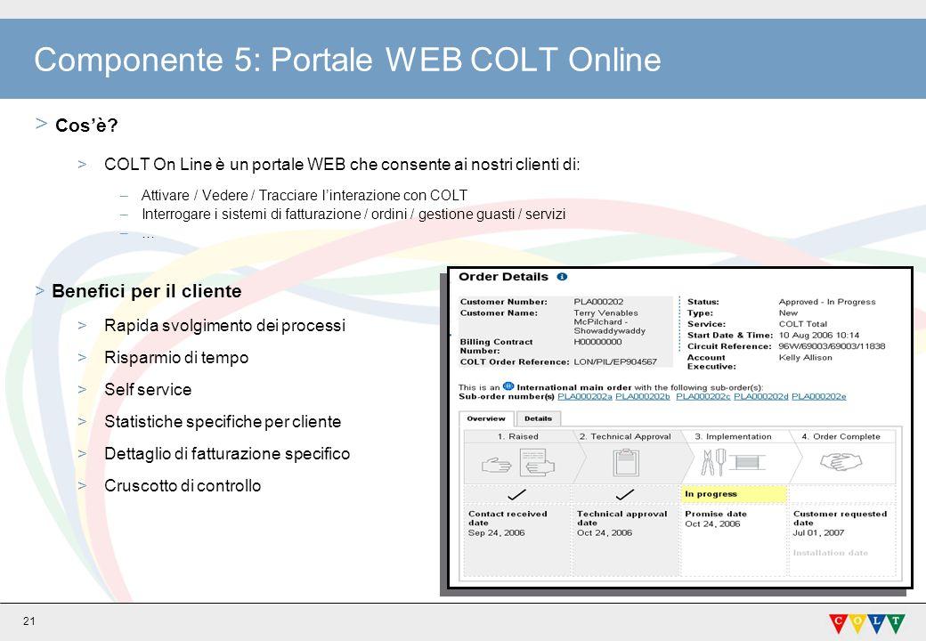 Componente 5: Portale WEB COLT Online