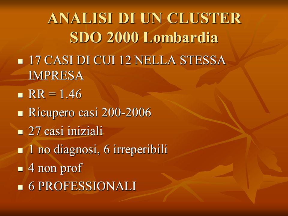 ANALISI DI UN CLUSTER SDO 2000 Lombardia