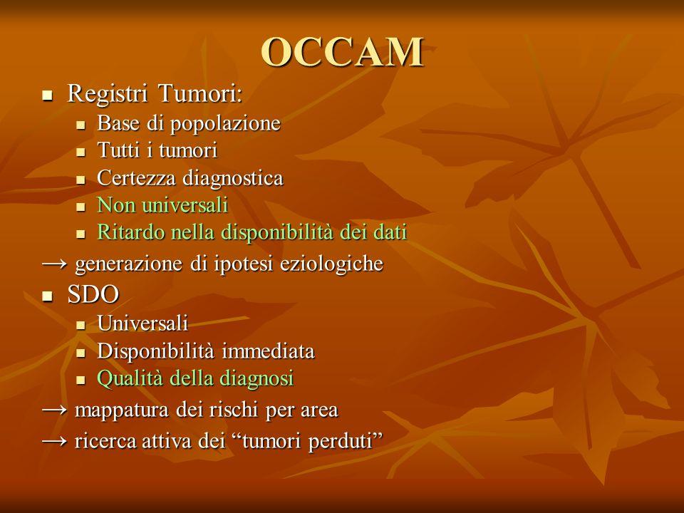 OCCAM Registri Tumori: → generazione di ipotesi eziologiche SDO