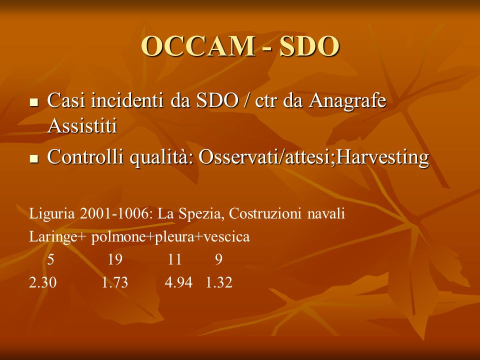 OCCAM - SDO Casi incidenti da SDO / ctr da Anagrafe Assistiti