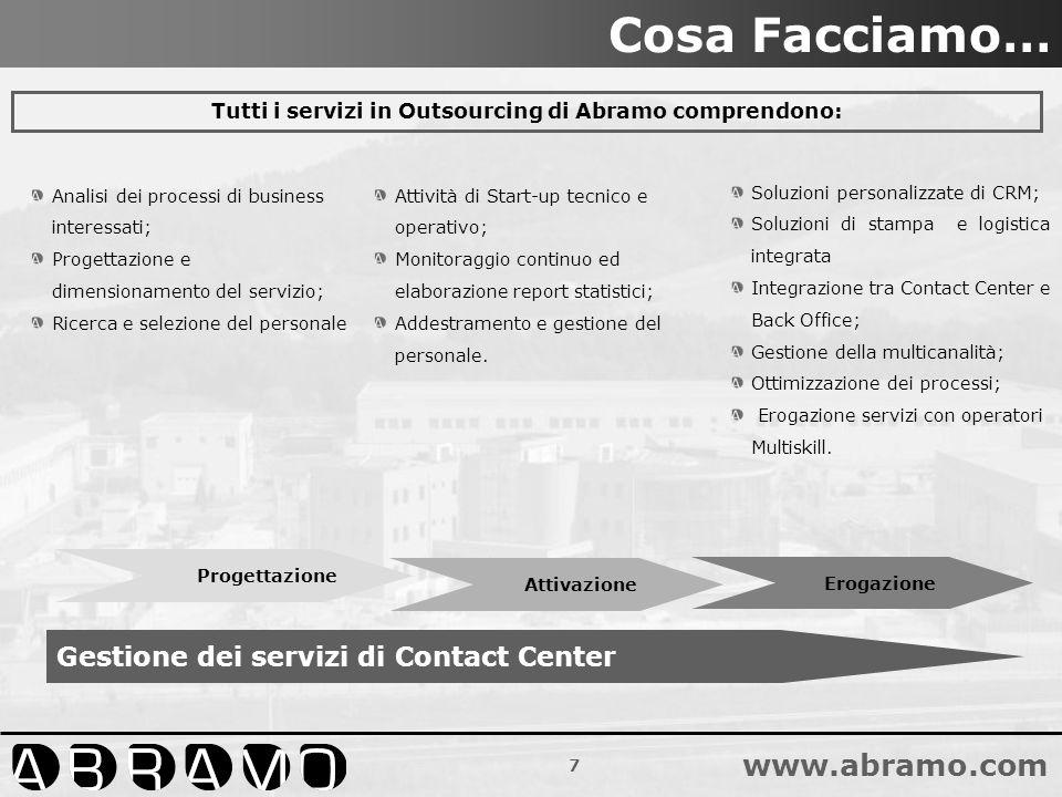 Tutti i servizi in Outsourcing di Abramo comprendono: