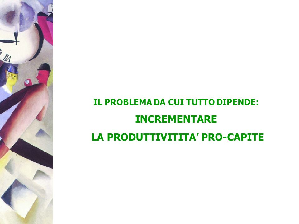 IL PROBLEMA DA CUI TUTTO DIPENDE: LA PRODUTTIVITITA' PRO-CAPITE