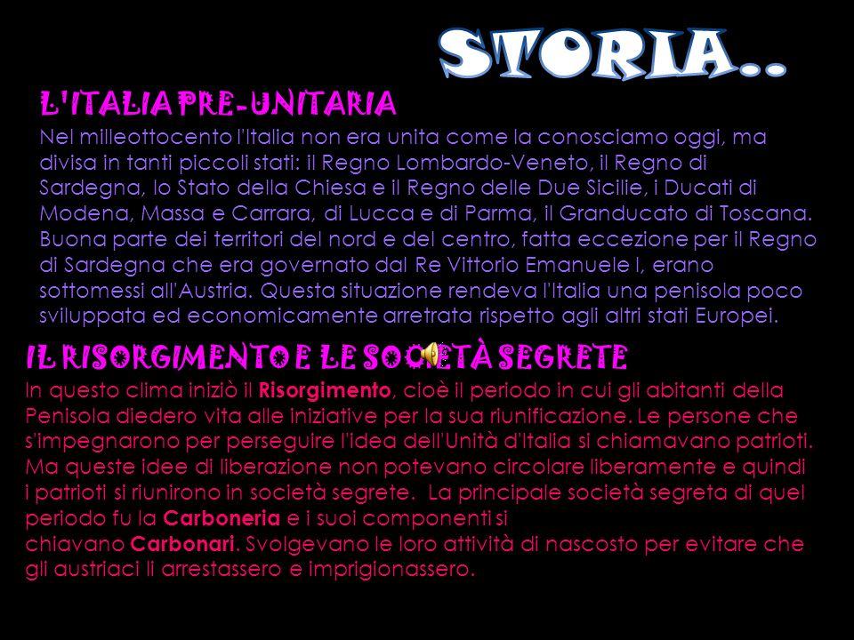 STORIA.. L ITALIA PRE-UNITARIA IL RISORGIMENTO E LE SOCIETÀ SEGRETE
