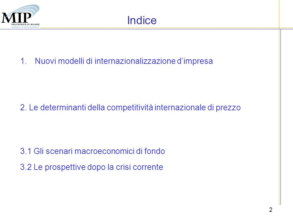 Indice Nuovi modelli di internazionalizzazione d'impresa