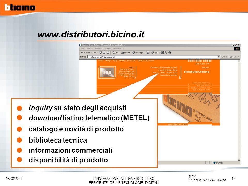 www.distributori.bicino.it inquiry su stato degli acquisti