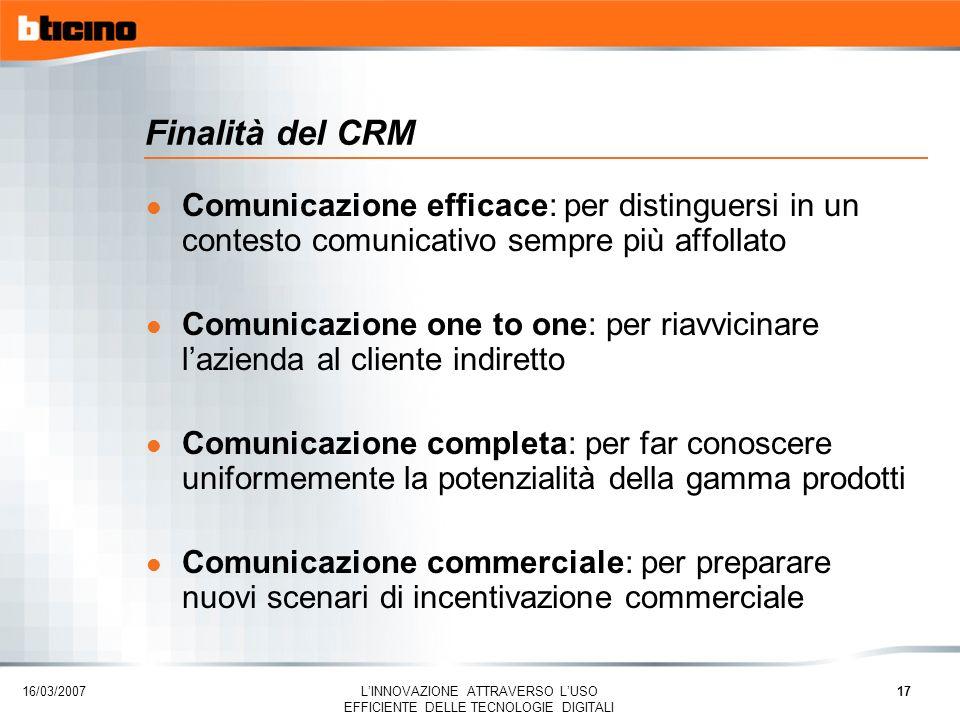 Finalità del CRM Comunicazione efficace: per distinguersi in un contesto comunicativo sempre più affollato.