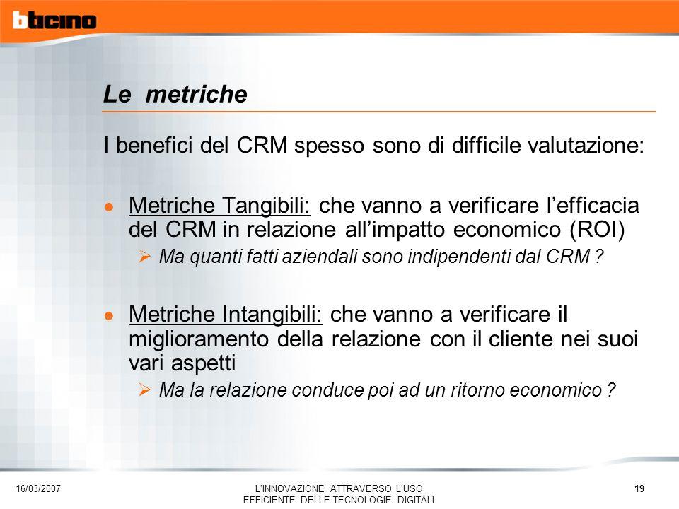 Le metriche I benefici del CRM spesso sono di difficile valutazione: