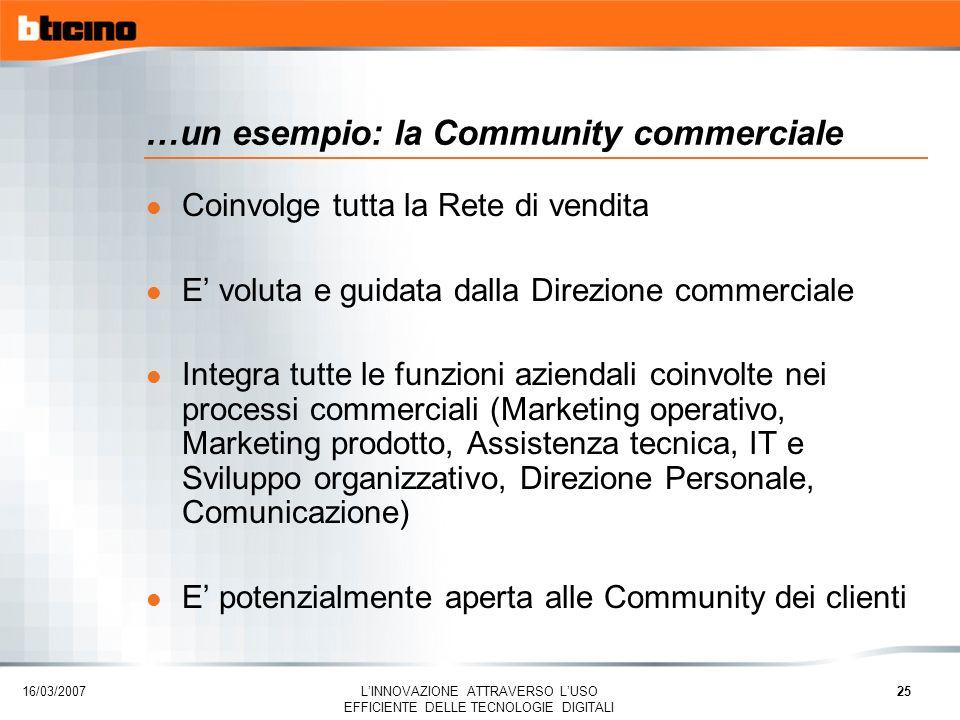 …un esempio: la Community commerciale