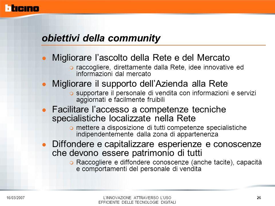 obiettivi della community