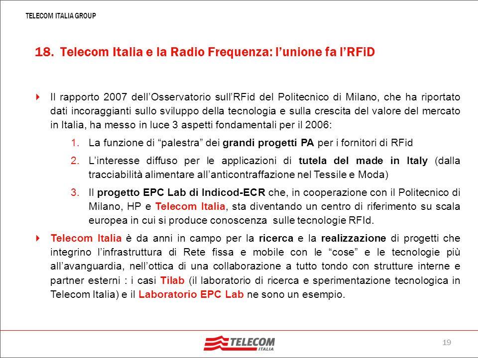 18. Telecom Italia e la Radio Frequenza: l'unione fa l'RFiD