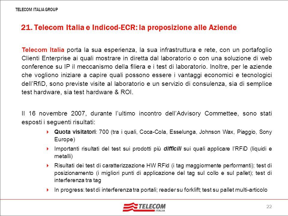21. Telecom Italia e Indicod-ECR: la proposizione alle Aziende