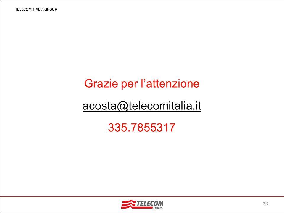 Grazie per l'attenzione acosta@telecomitalia.it 335.7855317