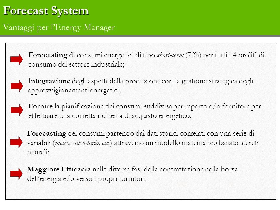 Forecast System Vantaggi per l'Energy Manager