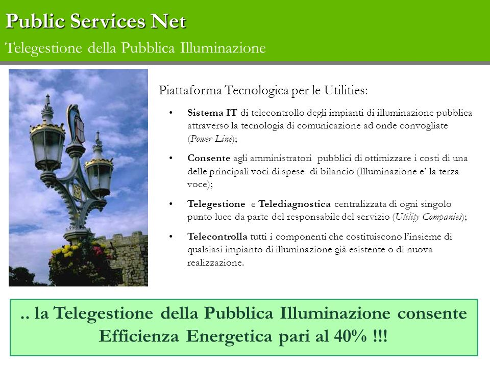 Public Services Net Telegestione della Pubblica Illuminazione