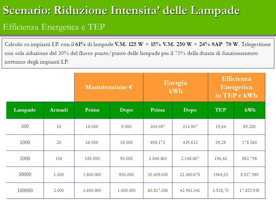 Scenario: Riduzione Intensita' delle Lampade Efficienza Energetica e TEP