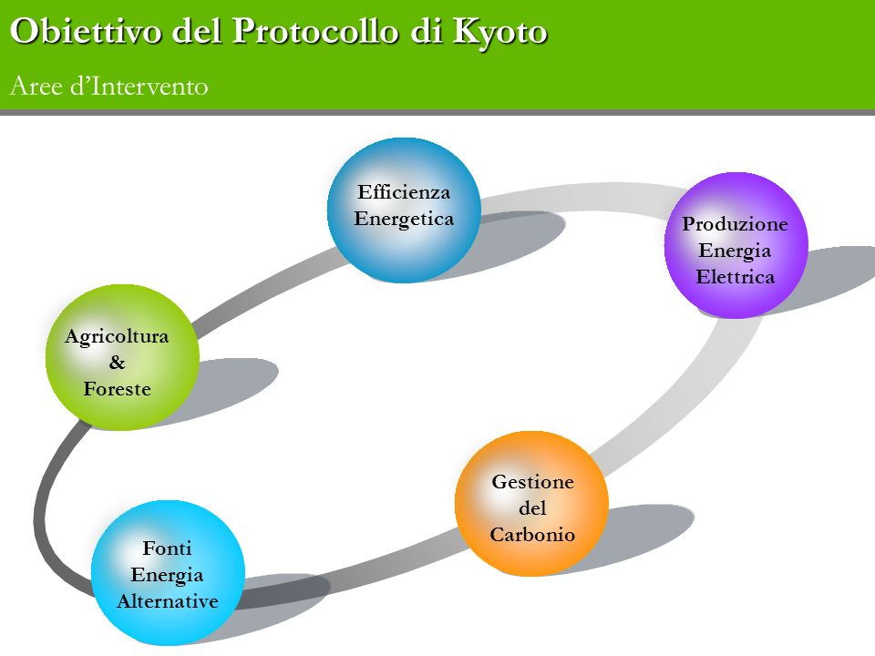 Obiettivo del Protocollo di Kyoto Aree d'Intervento