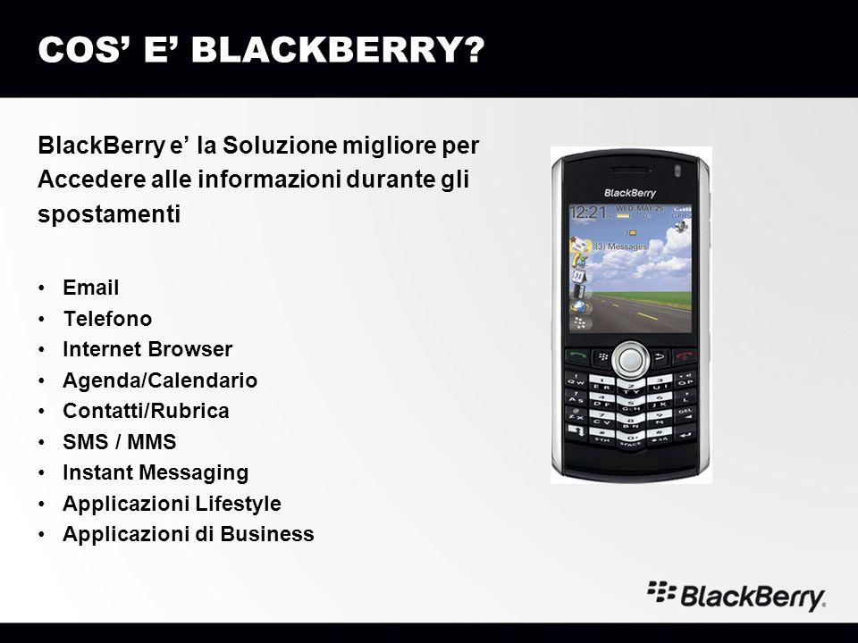 COS' E' BLACKBERRY BlackBerry e' la Soluzione migliore per
