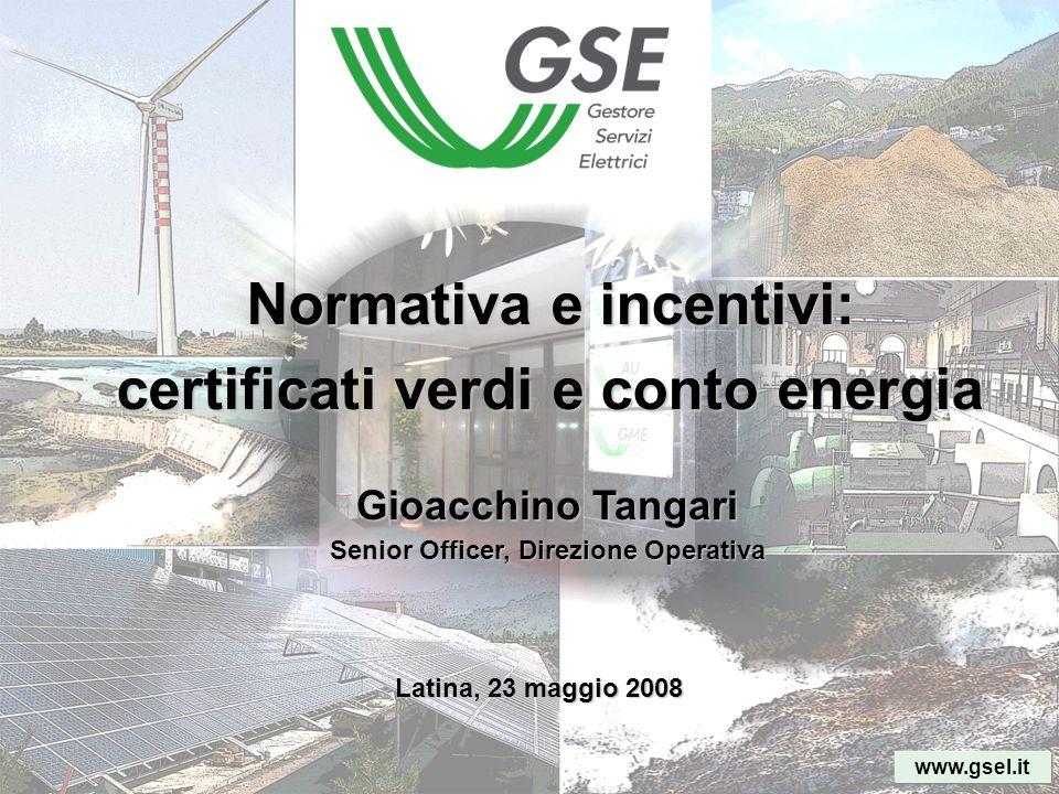 Normativa e incentivi: certificati verdi e conto energia