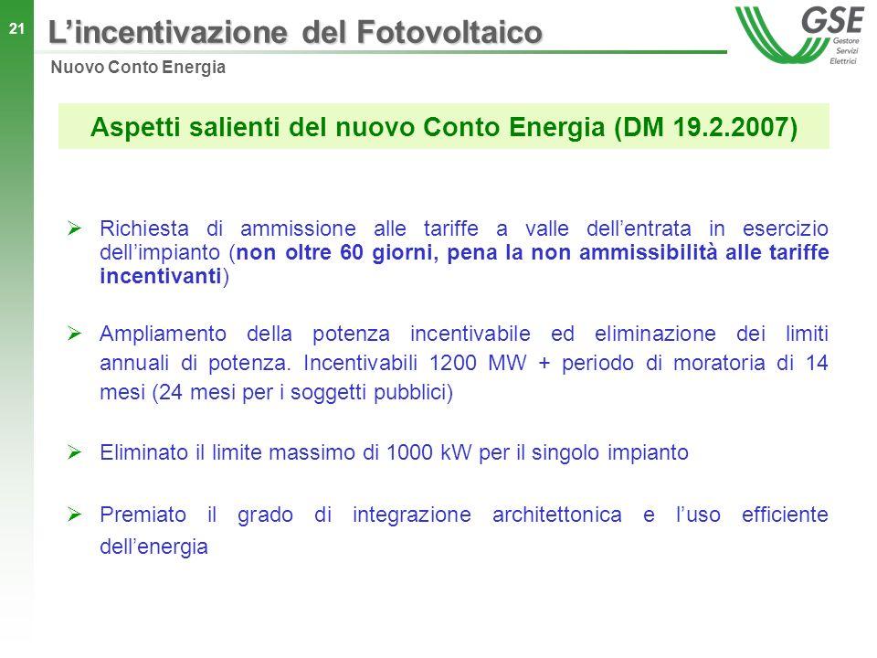 Aspetti salienti del nuovo Conto Energia (DM 19.2.2007)